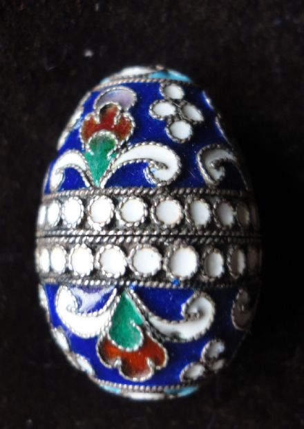 Antique Imperial Russian Cloisonné Egg by Alexander Krivovichev of Moscow AK